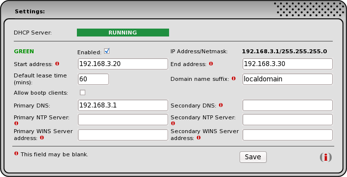 DHCP Server Web Page