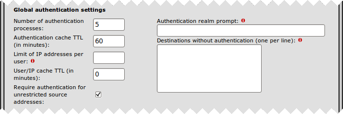 Global authentication settings section
